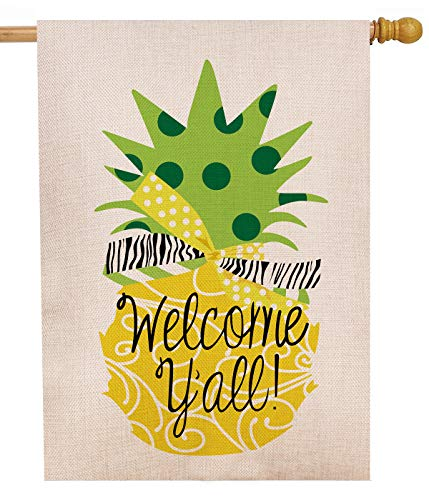 Dyrenson Decorative Double Sided Pineapple Large House Flag Burlap Yellow Welcome Yall Quote, House Yard Flag, Garden Yard Decorations, Home Seasonal Outdoor Flag 28 x 40 Spring Summer