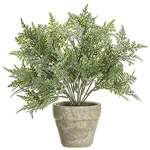 SilksAreForever 10″ Glittered Artificial Fern Plant w/Cement Pot -Green (Pack of 6)