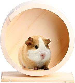 Ksruee Wooden Exercise Wheel Mute Hamster Running Wheel Eco-Friendly Pet Toy Wheel Hamster Mice Gerbil Small Animals