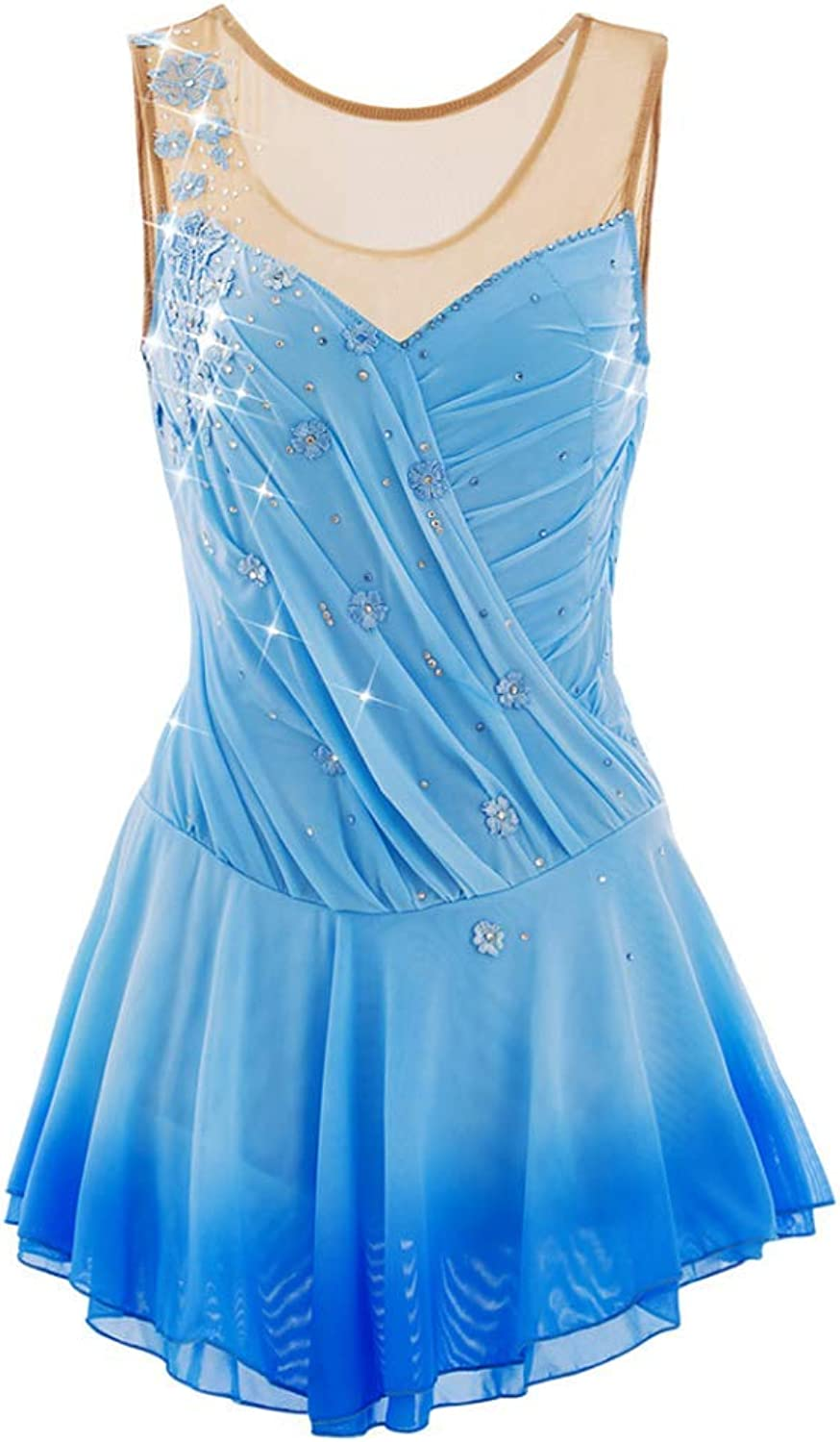 YunNR Adult Professional Figure Skating Performance Clothing Sleeveless bluee Gradient Skirt Simple Handmade Ice Skating Dress for women Kid Leotard Dresses