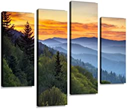 Great Smoky Mountains National Park Scenic Sunrise Landscape at Oconaluftee Canvas Wall Art Hanging Paintings Modern Artwork Abstract Picture Prints Home Decoration Gift Unique Designed Framed 4 panel