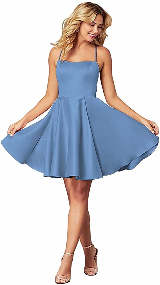 Chady Short Spaghetti Straps Homecoming Dresses for Teens Satin A-Line Square-Neck Formal Prom Gown 2021