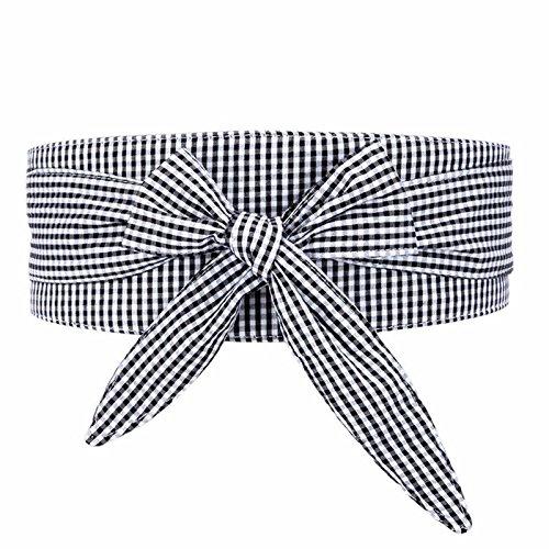 SAIBANGZI Cinturones de Mujer Lady Faja Enrejado Decorativo Cintura Vestido de Pajarita, Camisa de Tela B Edad Marea. Gris One-Size