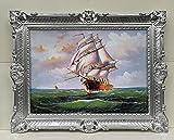 Cuadro con marco, diseño de barco velero antiguo en el mar, 90 x 70 cm