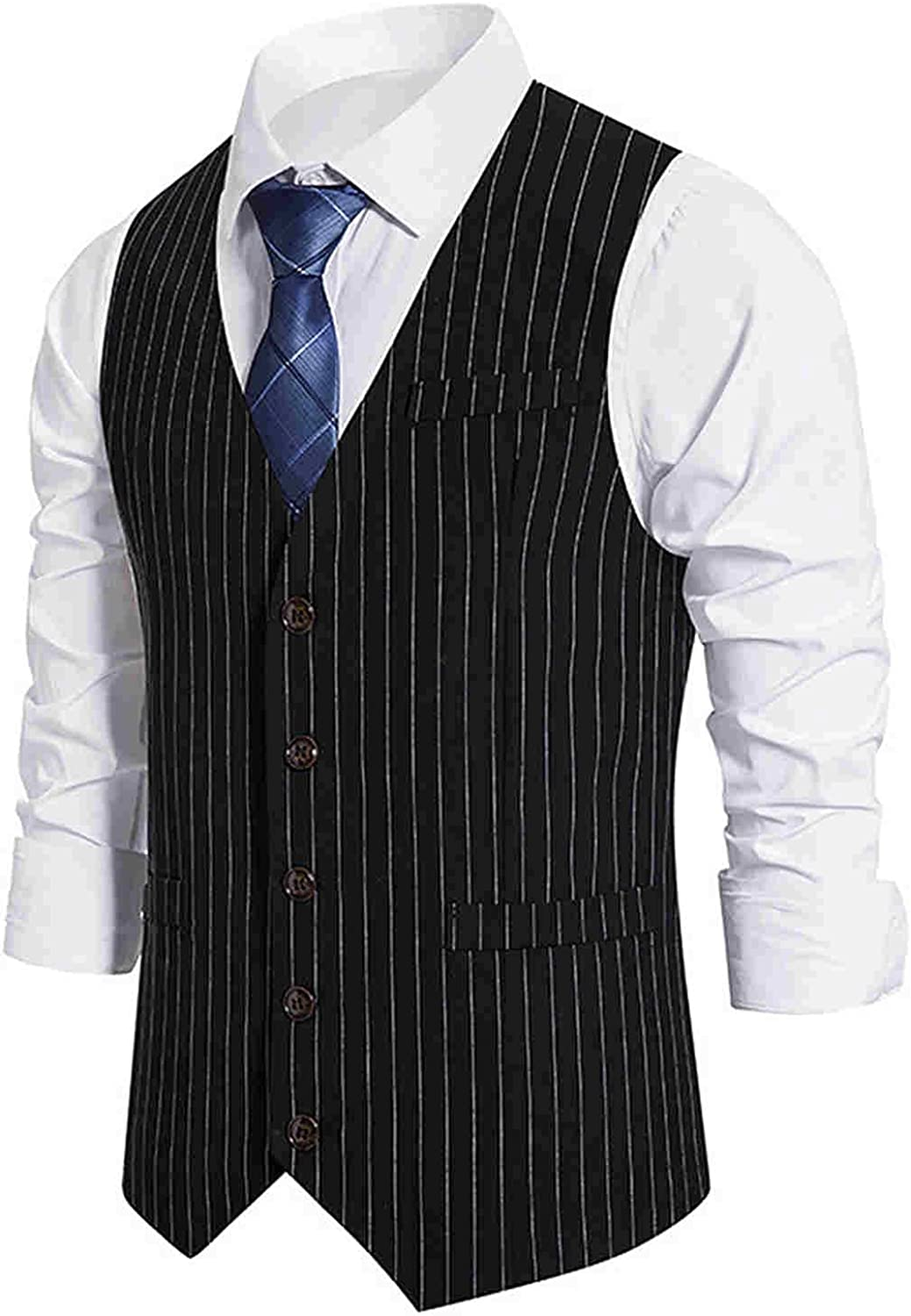 Digood Mens Gentleman Suit Autumn and Winter Casual Retro Striped Single-Breasted Suit Vest,Business Formal Suit