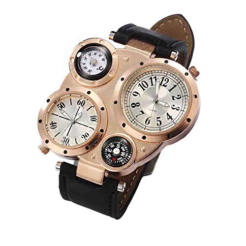 Ingrirt5Dulles - Reloj de Pulsera para Hombre con brújula de muñeca, Impermeable, de Cuarzo, Apto para Todos los días, Fiestas, oficinas y Viajes