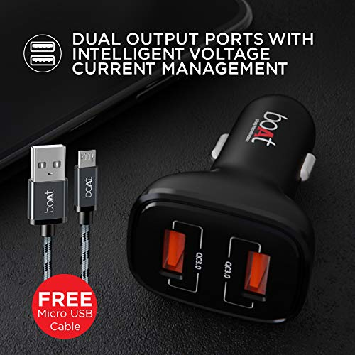 Boat Dual QC Port Rapid Car Charger with 18W Qualcomm Quick Charge 3.0 Fast Charge, Smart IC Protection, Universal Compatibility & Free Micro USB Cable(Black)