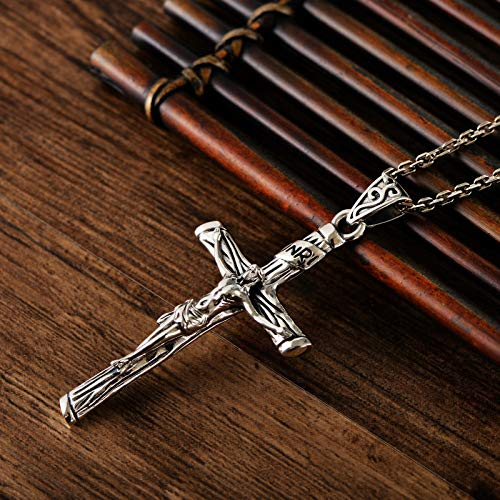 Yarmy Jesus Cross Necklace Pendant, S925 Sterling Silver Jesus Cross Pendant, Personality Hip-Hop Men And Women Trend Pendant Silver Accessories Jewelry Gift