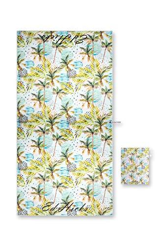 Ed Hicks - Toallas de playa para mujer, tamaño XL, 180 x 90 cm, microfibra, sin arena, compacto, secado rápido, ultra absorbente, bolsa de playa incluida, 1 toalla de palma