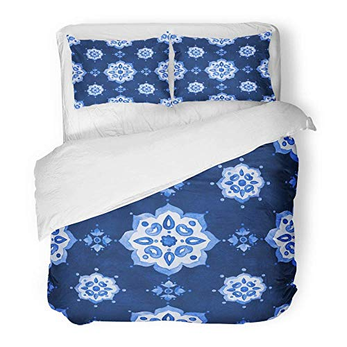 3-teiliges Bettbezug-Set Gebürstetes Mikrofasergewebe Aquarell Royal Blue Velour Renaissance...