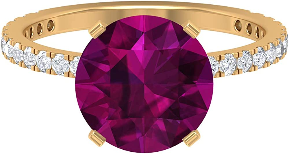 3.5 CT Solitaire Rhodolite Ring, 1.5 MM D-VSSI Moissanite Ring, Gold Engagement Ring (10 MM Round Shaped Rhodolite), 14K Gold