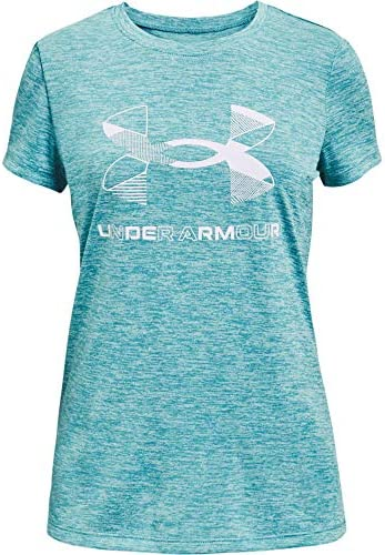 Under Armour Girls Graphic Twist Big Logo Short Sleeve T Shirt Cosmos 476 White Youth Medium product image