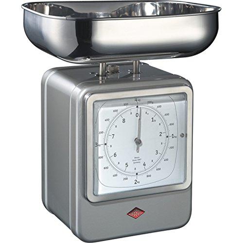 WESCO Küchenwaage Mit Uhr Neusilber