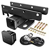 Nilight - JK-61A 2' inch Rear Bumper Tow Trailer Hitch Receiver Kit, Compatible for 2007-2018 Jeep Wrangler JK 4 Door & 2 Door Unlimited, w/4-Pin Wiring Harness (Exclude JL Models)