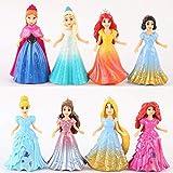 8 unids / Set Vestido de muñecas con Clip mágico Magiclip Figuras de Princesa Estatua Blancanieves Cenicienta Elsa Anna Figuras de acción Juguete para Chico