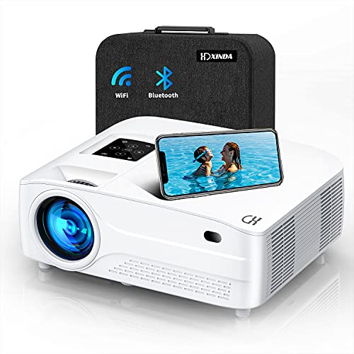 """9500Lux 5G WiFi Bluetooth Mini Projector 4k with 450"""" Display,Native 1080P Projector Support 6D Keystone Correction,4P/4D ,4k,Dolby, Zoom,Home&Outdoor Projector iOS/Android/PS4 (White)"""