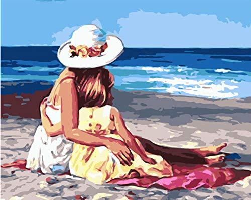 IJBSDJI Rahmenlos, Malen Nach Zahlen, DIY Ölgemälde Für Erwachsene Und Kinder- Strand Mutter Und Tochter 40Cmx50Cm Leinwand Druck Wand Kunst Home Dekoration