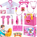 TEPSMIGO Kids Doctor Kit for Girls, Pink Doctors kit for Kids Pretend Play Medical Toys Set with Role Play Doctor Costume and Carry Bag for Little Girls