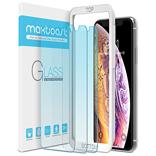 Maxboost (3 Pack) Screen Protector with Anti-Blue Designed for Apple iPhone 11 Pro/iPhone Xs/iPhone X (5.8)[Bluelight Filtering + Eye Protection Tempered Glass] Advanced HD Glass Work Most Cases