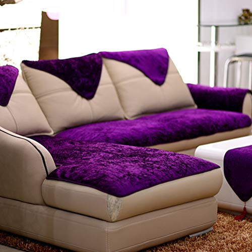 NanXi Anti-rutsch Plüsch Samt Sofahusse, 1-STÜCK Sofa Abdeckung Sofabezug Schmutz Resistent Für Kinder Katze Hund Ecksofa,Lila,80 * 210cm