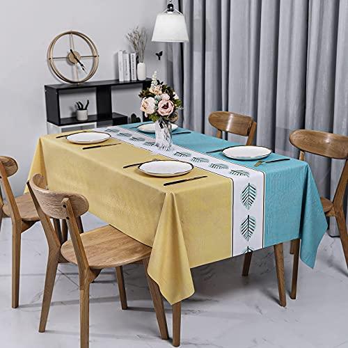 Asvert Mantel Mesa Rectangular/Mantel Antimanchas Impermeable/Nórdico Moderno de Plástico PVC Mantel Hule Rectangular (140*220cm Azul--Amarillo)