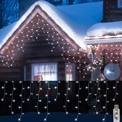 ILLUMINEW Icicle Lights, Christmas Fairy Hanging Lights 48Ft 200 LED, 8 Modes Window Curtain Lights Outdoor, USB Falling Lights for Wedding Party Garden Home Bedroom Indoor/Outdoor Decoration(White)