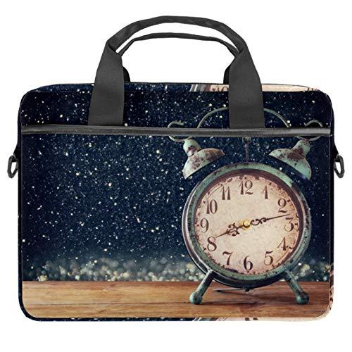 Retro-Wecker, Laptop-Tasche, Messenger-Tasche, schlanke Aktentasche mit Umhängetasche, Computertasche, Computer- und Tablet-Tragetasche für 33,4-36,8 cm (13,4-14,5 Zoll)
