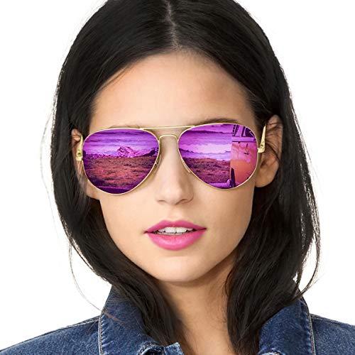 SODQW Pilotenbrille Sonnenbrille Damen Verspiegelt Polarisiert Mode Flieger Brille für Autofahren Angeln Metallrahmen 100% UVA/UVB Schutz (Gold Rahmen Violett Lila Linse (Spiegel))
