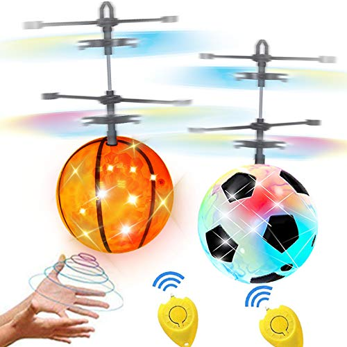 2 Pack Easter Flying Ball Toys, RC Flying Toy Drones for 6, 7, 8, 9, 10, 11, 12,13,14 Year Old Boys Girls Kids Easter Basket Stuffers Gifts LED Light Indoor Outdoor Kids Games with Remote Control