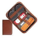 MEGICOT Kit de cuidado de zapatos de viaje de 7 piezas para limpieza de zapatos, cepillo de crin de caballo, herramientas de cuidado de pulido de zapatos con estuche de