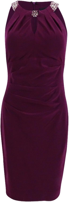 Betsy & Adam Women's Pleated EmbellishedHalter Dress