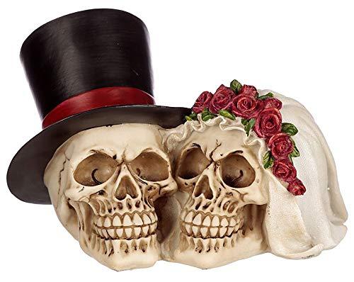 NAMENLOS Gothic-Totenkopf-Brautpaar | Fantasy Skull, Totenschädel, Kopf-Skulptur, Statue, Figur, Hochzeits-Deko, B 21 cm