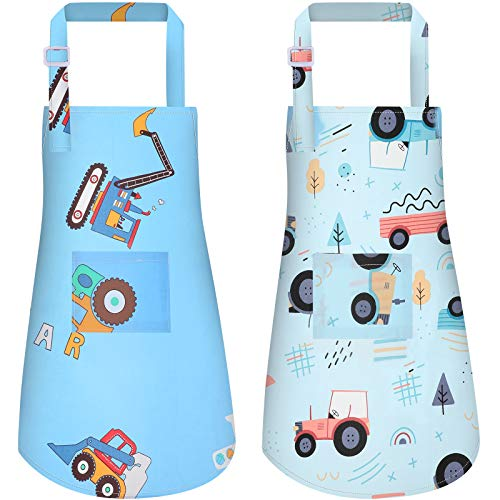 2 Pieces Kids Aprons Children Cartoon Kitchen Aprons with Pockets Cute Cooking Chef Aprons for 3 - 5 Years Children Painting Cooking Baking Party, 19.3 x 18.9 Inch (Car Style)