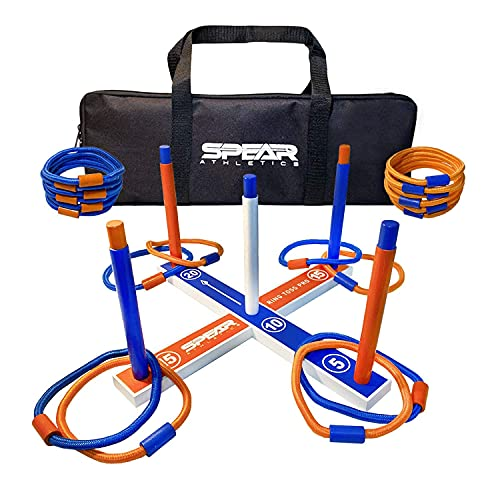 Spear Athletics Ring Toss Outdoor Game Play Anywhere - Ring Toss Games for Adults & Kids - Ring Toss Yard Game & Lawn Game - Includes Premium Rope Rings & Travel Bag for Endless Outdoor Fun