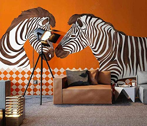 Papel Pintado Pared 3D Fotomurales Zebra Geométrica Naranja Papel Tapiz 3D Mural Pared Papel Salon Dormitorio Pared Decorativos-250cmx175cm
