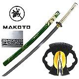 MAKOTO Handmade Olive Green Sharp Katana Samurai Sword 40', Vine Tsuba