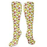 Calcetines personalizados, patrón de vitamina C de limón de granada naranja estacional, calcetines divertidos para mujer, calcetines de algodón para mujer, calcetines de algodón