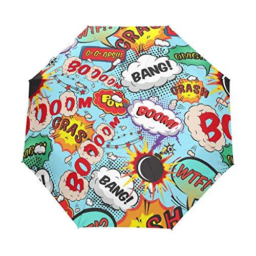 FANTAZIO Fantasio 3-Fach Faltbarer Reise-Regenschirm mit Comic-Sprechblasen und Bang. Boom! Regenschirm, automatisch, leicht, Muster