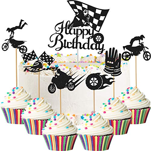61 Pieces Motocross Happy Birthday Cake Topper Motocross Cupcake Topper Sports Theme Black Motocross Topper Picks Scooter Cake Decoration for Birthday Motocross Dirt Bike Theme Party Supplies