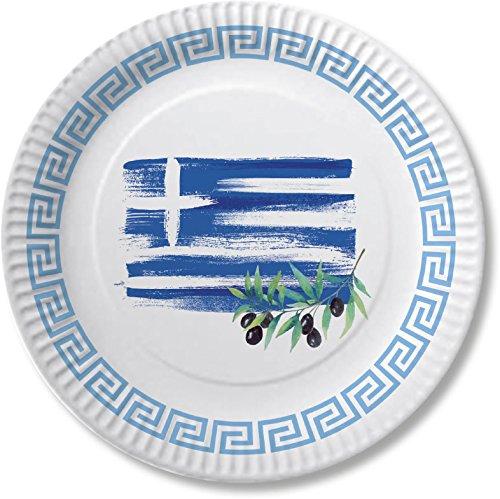 DH-Konzept 10 Teller * Griechenland * für Mottoparty, Geburtstag Oder Länderparty Greece Athen Pappteller Partyteller Party Set