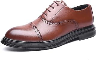 [ZanYeing] ビジネスシューズ メンズ 紳士靴 防水 防滑 革靴 ストレートチップ 内羽根 本革 ブラウン 通気快適 通勤 軽量24.0~27.0