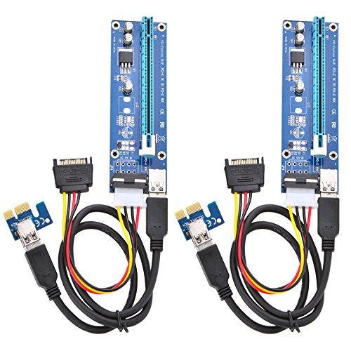 Optimal Shop PCI Express 16x to 1x Powered Riser Adapter Card w/60cm USB 3.0 Extension Cable and 4-Pin MOLEX to SATA Power Cable-GPU...