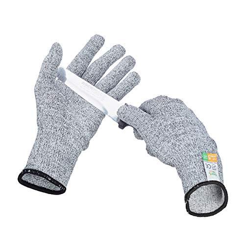 Relaxdays Schnittschutz Handschuhe Level 5 Schutz, lebensmittelecht, EN 388 Schutzhandschuhe Größe L, grau
