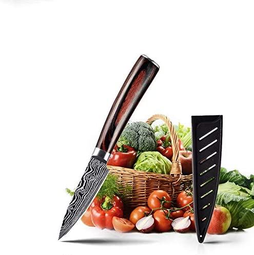 Paring Knife 3 5 inch with Cover German High Carbon Stainless Steel X50CrMoV15 Pakkawood Handle product image