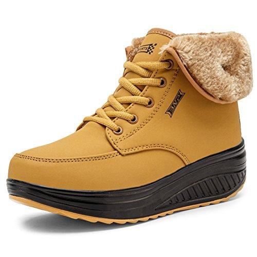 SAGUARO® Invierno Mujer Botas de Nieve Cuero Calientes Fur Botines Plataforma Bota Boots Ocasional Impermeable Anti Deslizante Zapatos, Amarillo 38