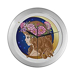 LIPink Commercial Wall Clock Zodiac Sign Zodiac Sign Virgo Quartz Wall Clock 9.65 Inch Silver Quartz Frame Decor for Office/School/Kitchen/Living Room/Bedroom