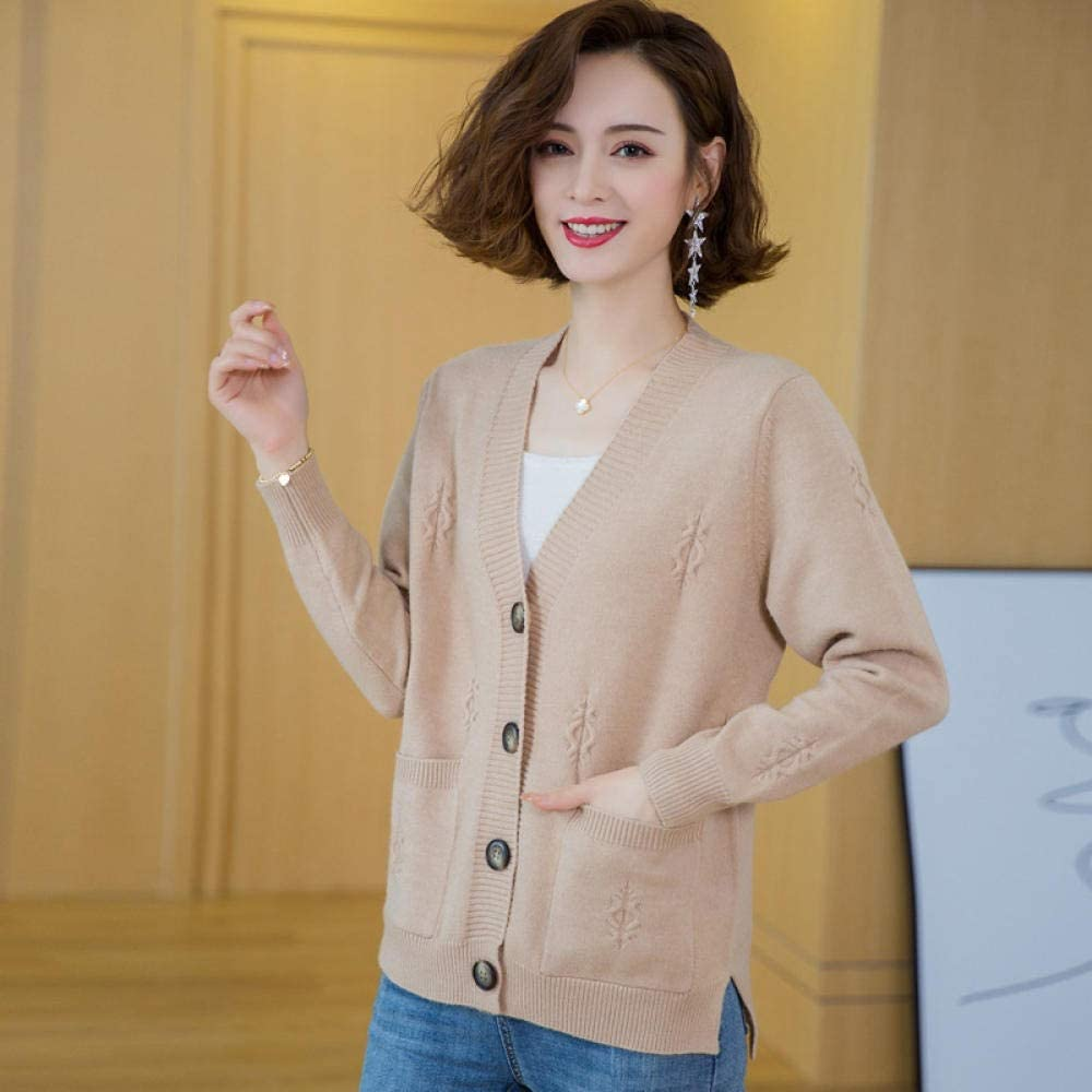 CHENGYYDP Cardigan Knitted Cardigan Cropped Top Thick Small Sweater with Ladies Sweater Coat (Color : Blue, Size : XL)