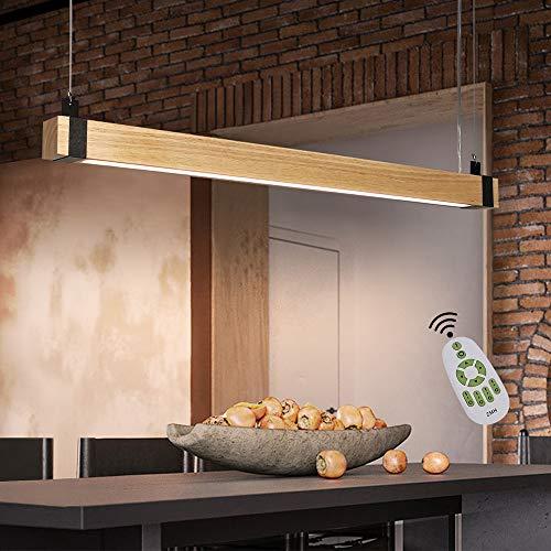 ZMH Pendelleuchte Holz Led Hängelampe esstisch dimmbar mit Fernbedienung 19W 100CM Holzbalken Höhenverstellbare Rustikal Bürolampe Industrial Retro Esszimmerlampe Wohnzimmerlampe Schlafzimmerlampe