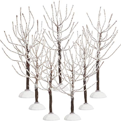 7 Pieces Christmas Decor Trees, Snow Covered Village Trees, Winter Snow Model Trees in 2 Sizes for Christmas Tree Displays, Fairy Gardens, Village Displays and Holiday Decorations