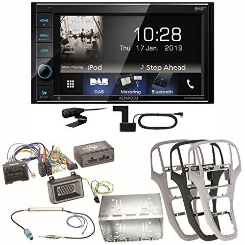 Kenwood DMX-5019DAB Bluetooth USB MP3 FLAC DAB+ Digitalradio WMA AAC Autoradio Einbauset für Opel Astra J, Farbe der Radioblende:Perl-Schwarz